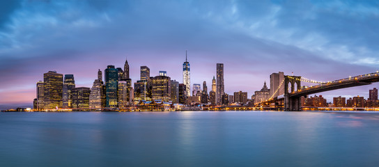 New York Financial District and the Lower Manhattan at dawn