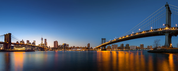 "Downtown New York City skyline panorama with the ""Two Bridges"""