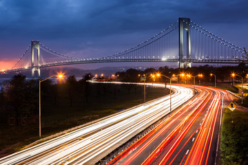 Verrazano Narrows Bridge and the Belt Parkway traffic