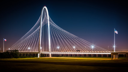 Margaret Hunt Hill bridge by night in Dallas