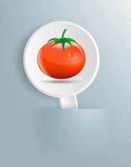 Figure ripe tomato on white plate
