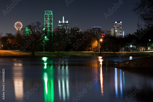 Dallas skyline reflected in Lake Cliff