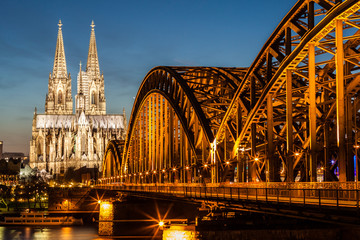 Hohenzollern Bridge and Cologne Cathedral at dusk
