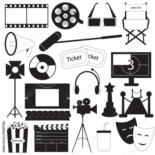 Movie icons vector collection