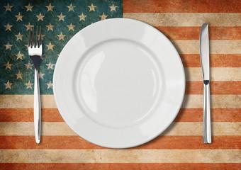 Plate, fork and kinife one grunge USA flag