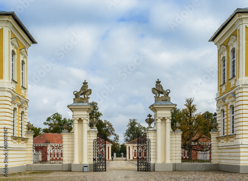 Buildings of stables and entrance to Rundale Palace, Latvia