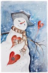 New Years amorous Snowman