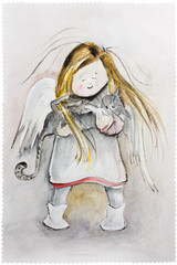 Winter Angel with cat