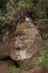 Stone sculpture on the island of Floreana,Galapagos Islands, Ecu