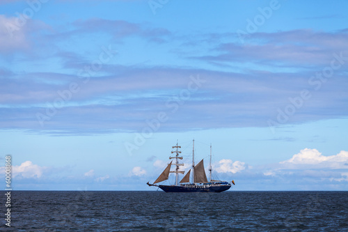 Sailboat in the Pacific Ocean, Galapagos islands