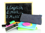 pencil box with school equipment and timetable isolated on