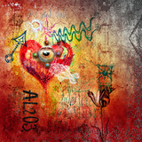Graffiti with red heart - 60009668