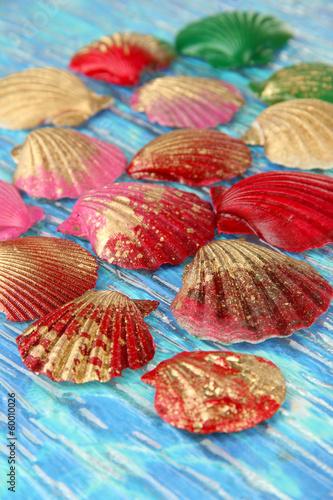 Colorful seashells on bright background