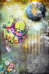 Grunge background with patterns