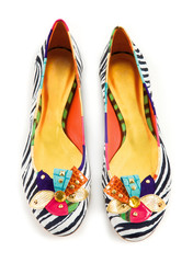 Zebra pattern ornated ballerinas