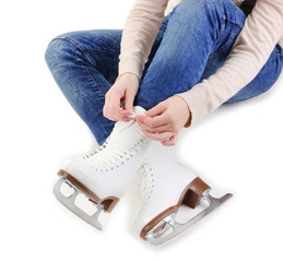 Skater wearing skates isolated on white