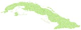 Decorative map of Cuba - America - in a mosaic of green squares