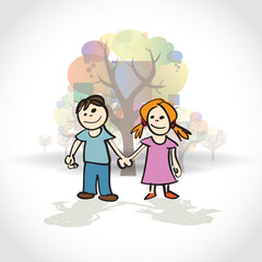 Boy and girl holding hands - illustartion