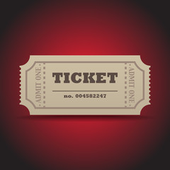 Ticket with a shadow on a dark red background - illustration