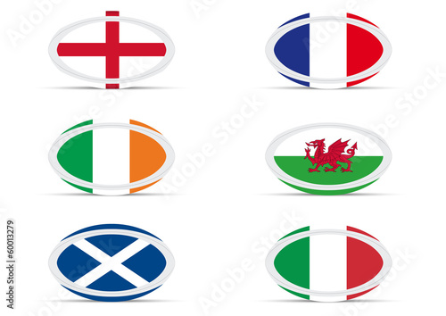Ballons rugby drapeaux 6 nations