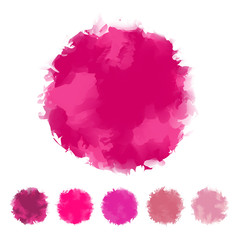 Set of pink water color round design for brush, textbox, design