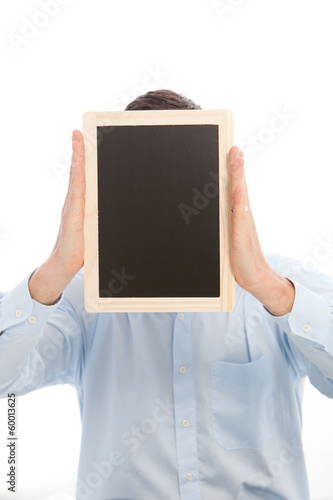 Man holding a blank black board
