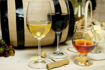 Red and white wine, brandy