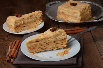 Slice of layer cake on server