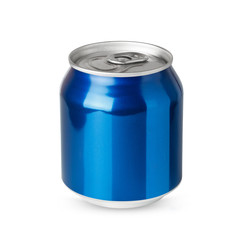 Small blue aluminum can isolated on white background