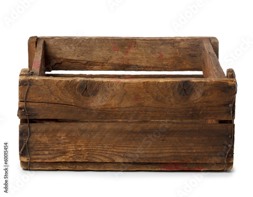 Vintage empty wooden crate isolated on white - 60015454