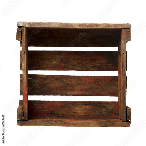 Old empty crate isolated on white, top view, all in focus