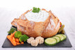 bread bowl with cheese and vegetables