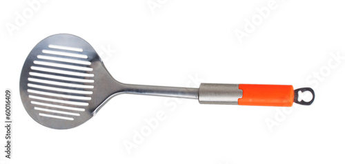 metal skimmer with orange handle