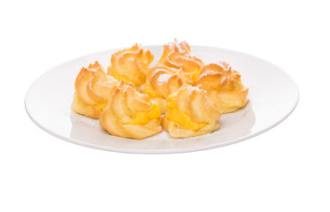 Home made cream puff on a white background