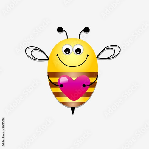 Color bee lover with heart
