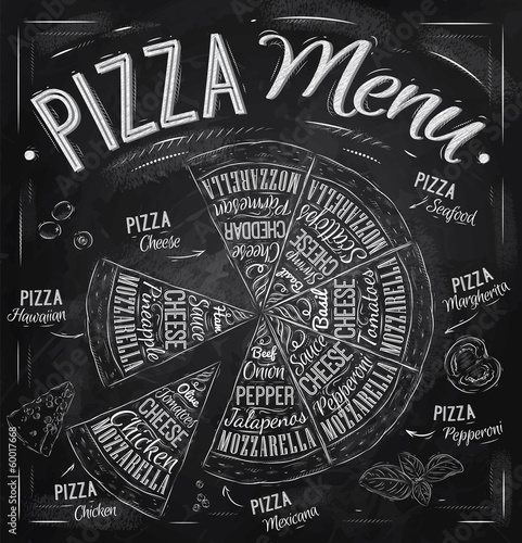 The names of dishes of Pizza drawing with chalk on blackboard