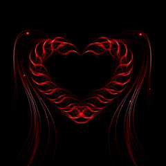 Futuristic heart background light lines, abstract wave.