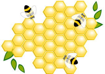 Honey comb with honey bees and leaves