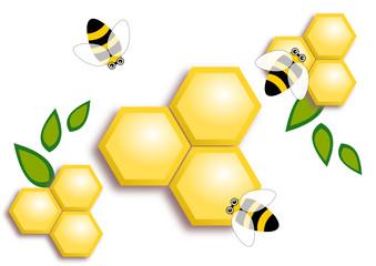 Bees buzzing around honey comb