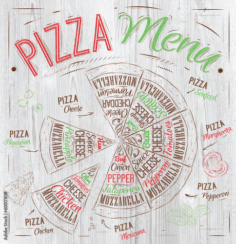 The names of dishes of Pizza in loft food color