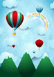 Hot air balloons over the mountain