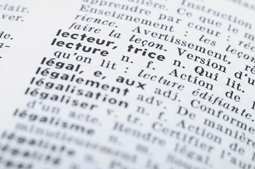 French Dictionary at the word Reading