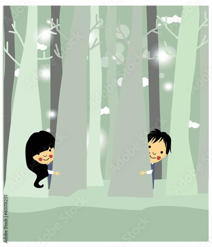 Playful children outdoors vector background.