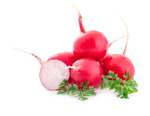 Red radish isolated on white background, with parsley leaves