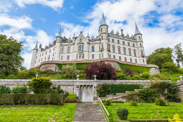 Daylight view of Dunrobin Castle, Scottish Highlands