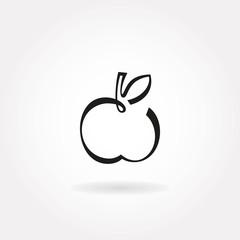 Minimalistic apple icon or symbol.