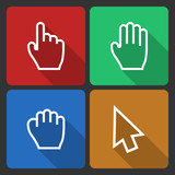 Hand Cursors Icons with Long Shadow