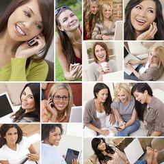 Montage of Modern Women Technology Lifestyle