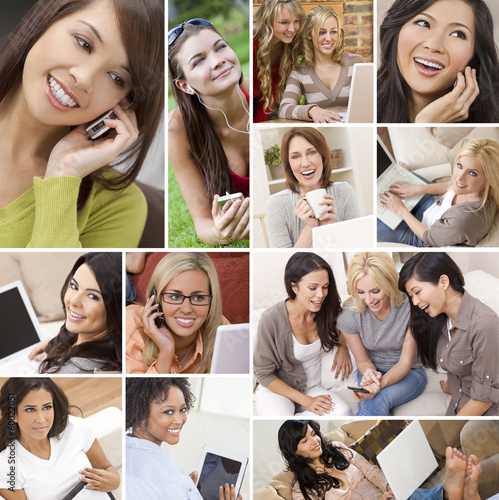 Montage of Modern Women Technology Lifestyle