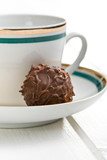 chocolate truffle with ceramic cup